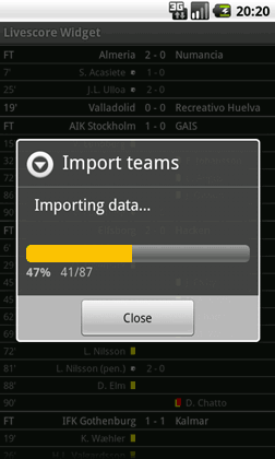Livescore Widget import teams