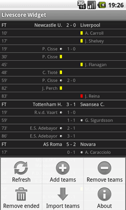Livescore Widget menu