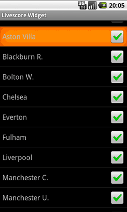 Livescore Widget select team